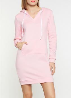 V Neck Sweatshirt Dress - 3094038343905