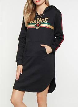Graphic Hooded Sweatshirt Dress - 3094038343906
