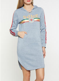 Graphic Hooded Sweatshirt Dress - 3094038343906