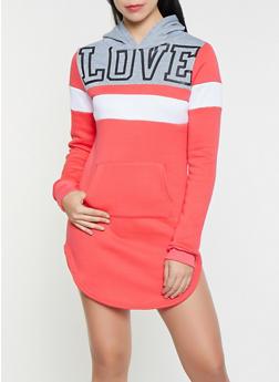 Love Color Block Sweatshirt Dress - 3094038343908
