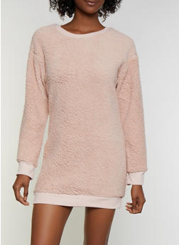 Sherpa Sweatshirt Dress - 3094038344950
