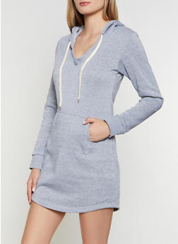 Hooded Fleece Lined Sweatshirt Dress - 3094038344953
