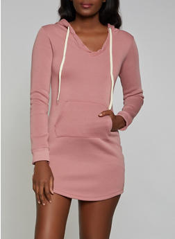 Hooded Fleece Lined Sweatshirt Dress - 3094038344953
