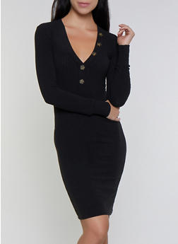 Long Sleeve Rib Knit Bodycon Dress - 3094038344960