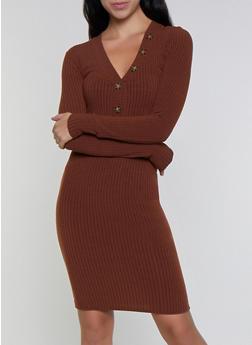 Long Sleeve Rib Knit Bodycon Dress - 3094038344960