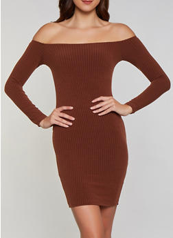 Off the Shoulder Ribbed Knit Midi Dress - 3094038344962