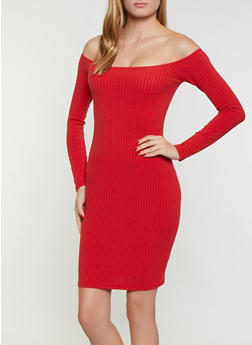 Off the Shoulder Ribbed Knit Midi Dress - 3094038344962