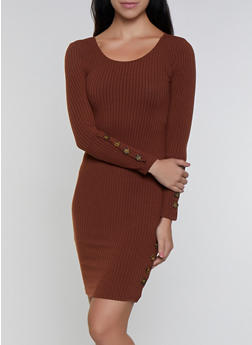 Button Detail Ribbed Dress - 3094038344963