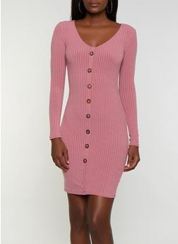 Button Ribbed Bodycon Dress - 3094038344964