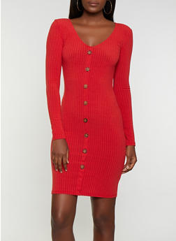 Button Ribbed Bodycon Dress - 3094038344964