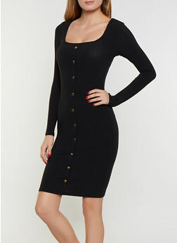 Square Neck Rib Knit Bodycon Dress - 3094038344965