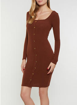 Square Neck Rib Knit Bodycon Dress - 3094038344965