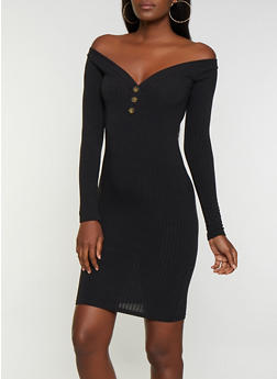 Ribbed Button Detail Off the Shoulder Bodycon Dress - 3094038344966