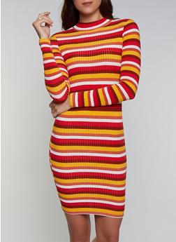 Striped Rib Knit Long Sleeve Sweater Dress - 3094038344970