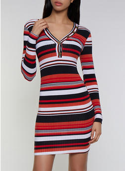 Striped Rib Knit Dress - 3094038344971