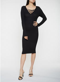 Caged Rib Knit Sweater Dress - 3094038347371