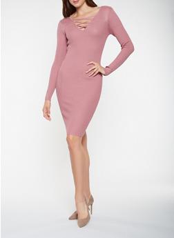 Caged Rib Knit Sweater Dress - 3094038347371