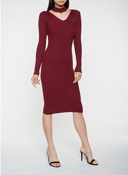Choker Neck Sweater Dress - 3094038347372