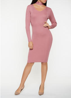 Choker Neck Sweater Dress - 3094038347372
