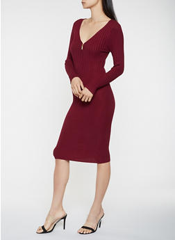 Zip Neck Sweater Dress - 3094038347373