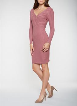 Zip Neck Sweater Dress - 3094038347373