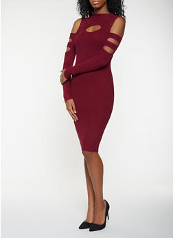 Rib Knit Cold Shoulder Bodycon Dress - 3094038347374