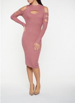 Rib Knit Cold Shoulder Bodycon Dress - 3094038347374