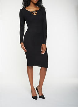 Caged Rib Knit Sweater Dress - 3094038347375