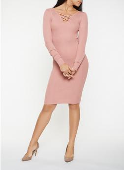 Caged Rib Knit Sweater Dress - 3094038347375