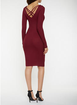 Caged Back Rib Knit Sweater Dress - 3094038347376