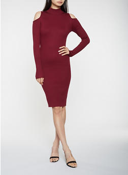 Cold Shoulder Sweater Dress - 3094038347377