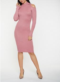 Cold Shoulder Sweater Dress - 3094038347377