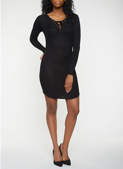 Lace Up Sweater Dress - 3094038348350