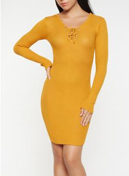 Lace Up Sweater Dress - 3094038348350