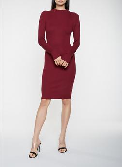 Rib Knit Sweater Dress - 3094038348352