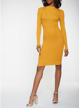 Rib Knit Sweater Dress - 3094038348352