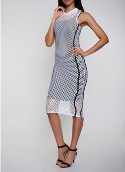 Hooded Fishnet Tank Dress - 3094038349693