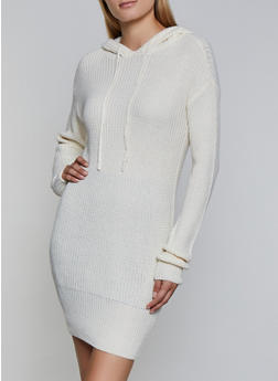 Long Sleeve Hooded Sweater Dress - 3094051060090