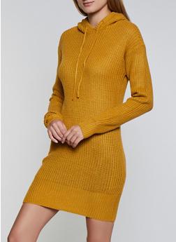 Long Sleeve Hooded Sweater Dress - 3094051060090