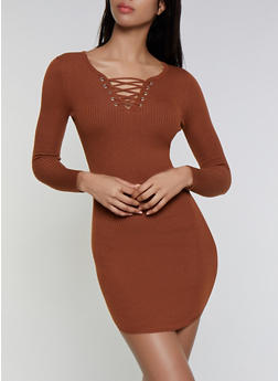 Ribbed Lace Up Sweater Dress - 3094051060091