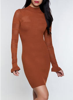 Perforated Knit Sweater Dress - 3094051060093