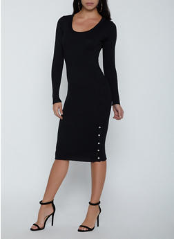 Ribbed Button Detail Sweater Dress - 3094051060095
