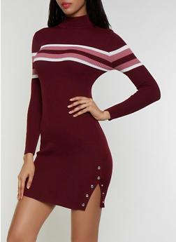 Striped Detail Mock Neck Sweater Dress - 3094051060096
