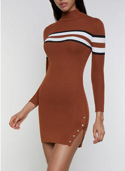 Striped Detail Mock Neck Sweater Dress - 3094051060096