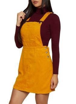 Corduroy Overall Dress - 3094051064173