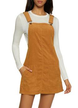 Two Pocket Corduroy Overall Dress - KHAKI - 3094051064206
