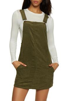 Two Pocket Corduroy Overall Dress - 3094051064206