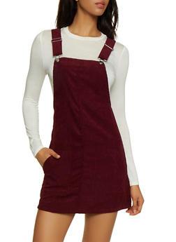 Two Pocket Corduroy Overall Dress - BURGUNDY - 3094051064206