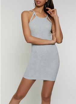 Cut Out Rib Knit Bodycon Dress - 3094051065035