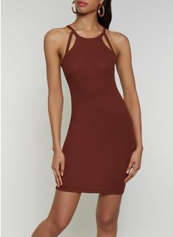 Cut Out Rib Knit Bodycon Dress - 3094051065035
